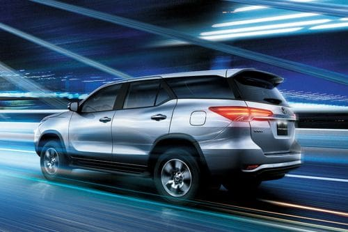 Rear Cross Side View of Toyota Fortuner
