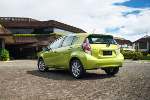 Rear Cross Side View of Toyota Prius C